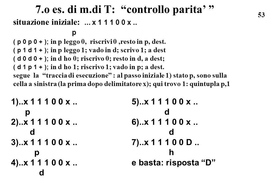53 7.o es. di m.di T: controllo parita situazione iniziale:... x 1 1 1 0 0 x.. p ( p 0 p 0 + ); in p leggo 0, riscrivi 0,resto in p, dest. ( p 1 d 1 +