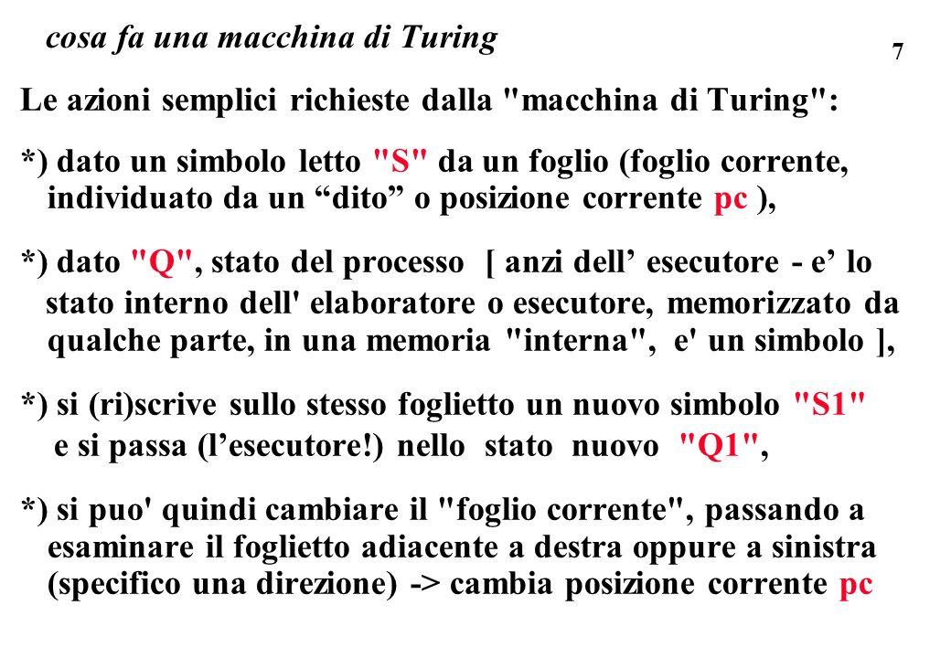7 cosa fa una macchina di Turing Le azioni semplici richieste dalla