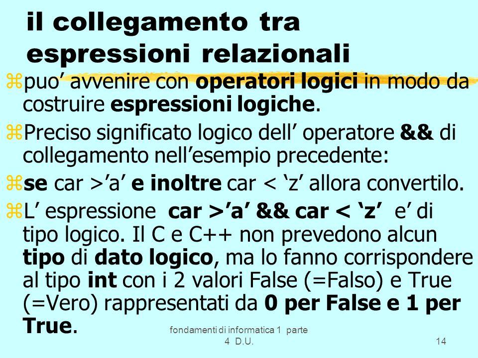 fondamenti di informatica 1 parte 4 D.U.14 il collegamento tra espressioni relazionali zpuo avvenire con operatori logici in modo da costruire espress