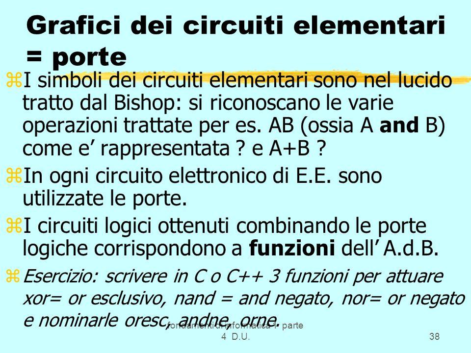 fondamenti di informatica 1 parte 4 D.U.38 Grafici dei circuiti elementari = porte zI simboli dei circuiti elementari sono nel lucido tratto dal Bisho