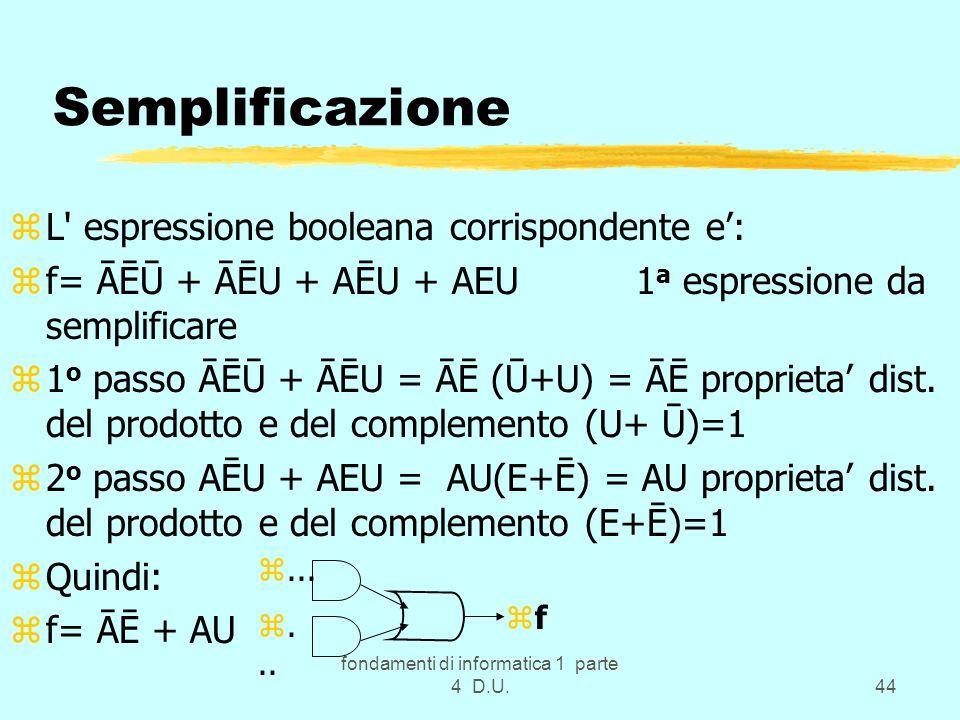 fondamenti di informatica 1 parte 4 D.U.44 Semplificazione zL' espressione booleana corrispondente e: zf= ĀĒŪ + ĀĒU + AĒU + AEU 1 a espressione da sem