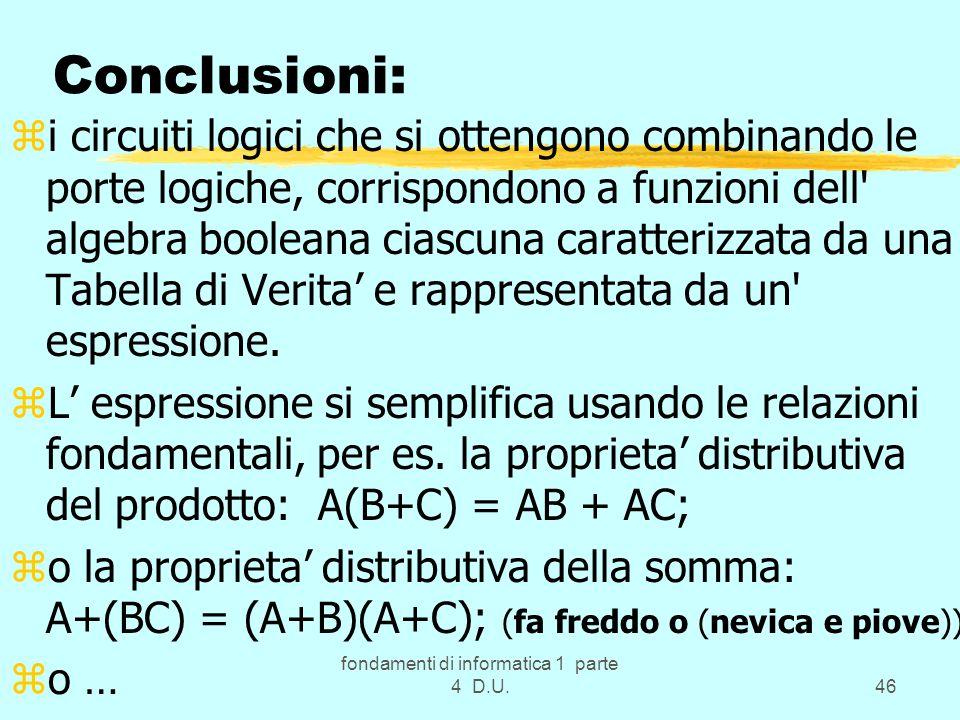 fondamenti di informatica 1 parte 4 D.U.46 Conclusioni: zi circuiti logici che si ottengono combinando le porte logiche, corrispondono a funzioni dell