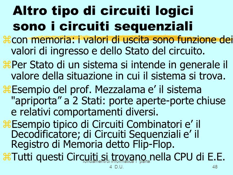 fondamenti di informatica 1 parte 4 D.U.48 Altro tipo di circuiti logici sono i circuiti sequenziali zcon memoria: i valori di uscita sono funzione de