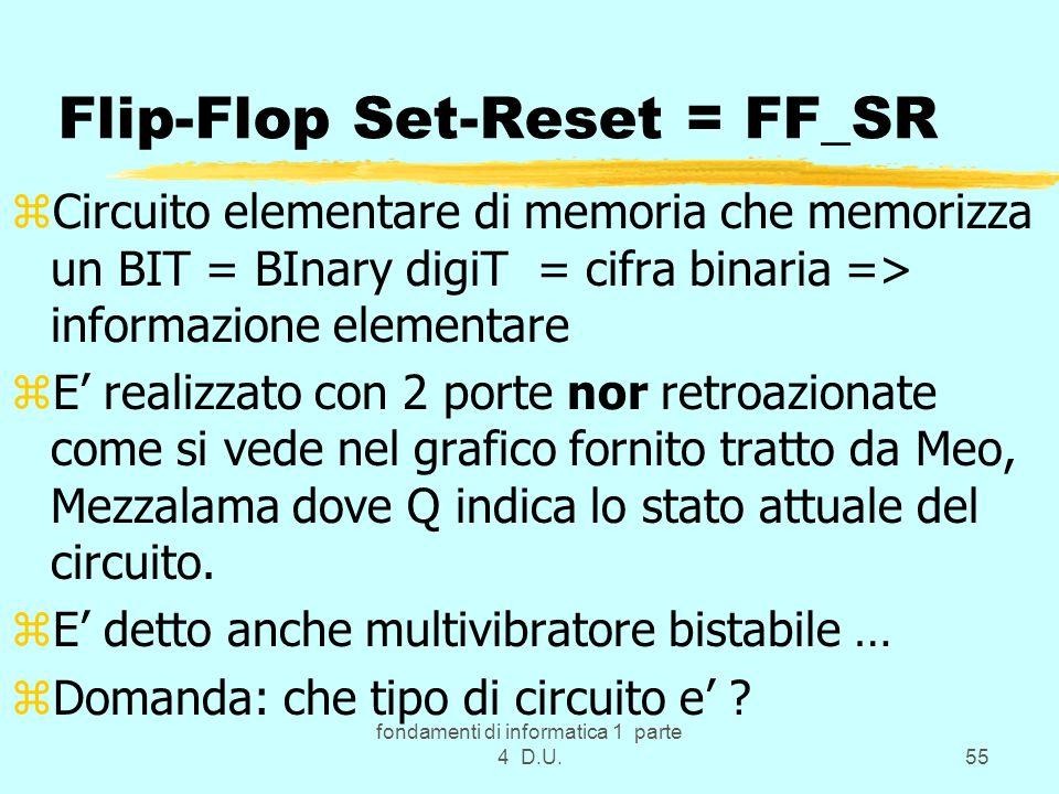 fondamenti di informatica 1 parte 4 D.U.55 Flip-Flop Set-Reset = FF_SR zCircuito elementare di memoria che memorizza un BIT = BInary digiT = cifra bin