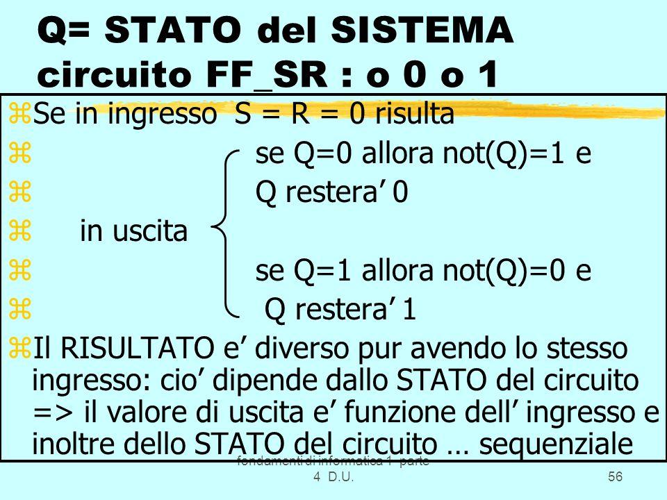 fondamenti di informatica 1 parte 4 D.U.56 Q= STATO del SISTEMA circuito FF_SR : o 0 o 1 zSe in ingresso S = R = 0 risulta z se Q=0 allora not(Q)=1 e