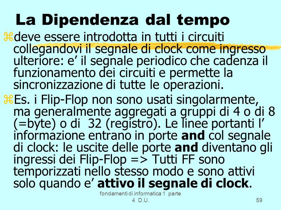 fondamenti di informatica 1 parte 4 D.U.59 La Dipendenza dal tempo zdeve essere introdotta in tutti i circuiti collegandovi il segnale di clock come i