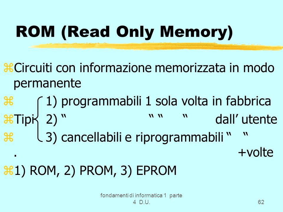 fondamenti di informatica 1 parte 4 D.U.62 ROM (Read Only Memory) zCircuiti con informazione memorizzata in modo permanente z 1) programmabili 1 sola