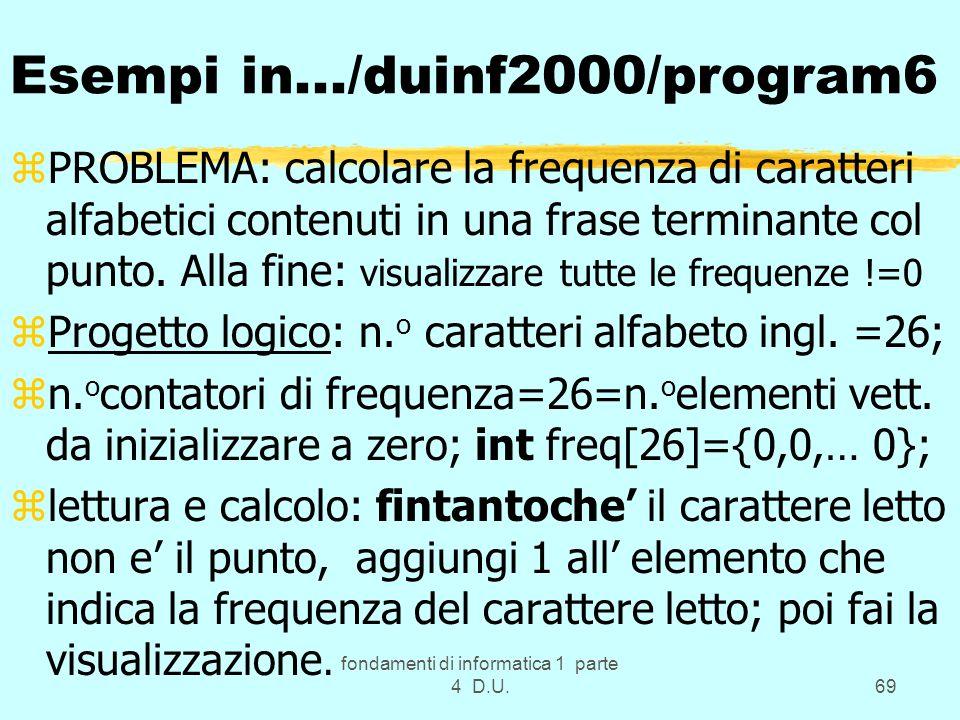 fondamenti di informatica 1 parte 4 D.U.69 Esempi in.../duinf2000/program6 zPROBLEMA: calcolare la frequenza di caratteri alfabetici contenuti in una