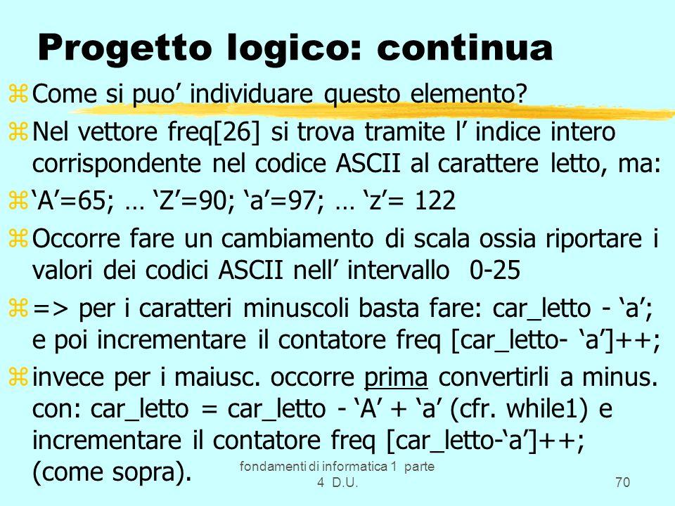 fondamenti di informatica 1 parte 4 D.U.70 Progetto logico: continua zCome si puo individuare questo elemento? zNel vettore freq[26] si trova tramite