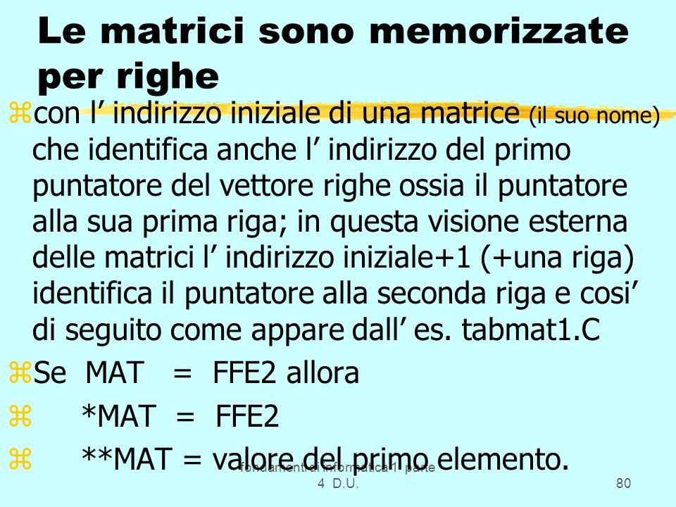 fondamenti di informatica 1 parte 4 D.U.80 Le matrici sono memorizzate per righe zcon l indirizzo iniziale di una matrice (il suo nome) che identifica