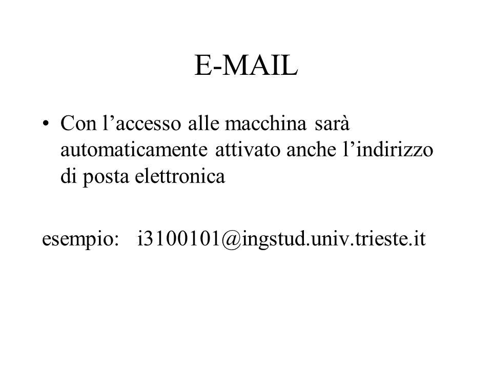 E-MAIL Con laccesso alle macchina sarà automaticamente attivato anche lindirizzo di posta elettronica esempio: i3100101@ingstud.univ.trieste.it