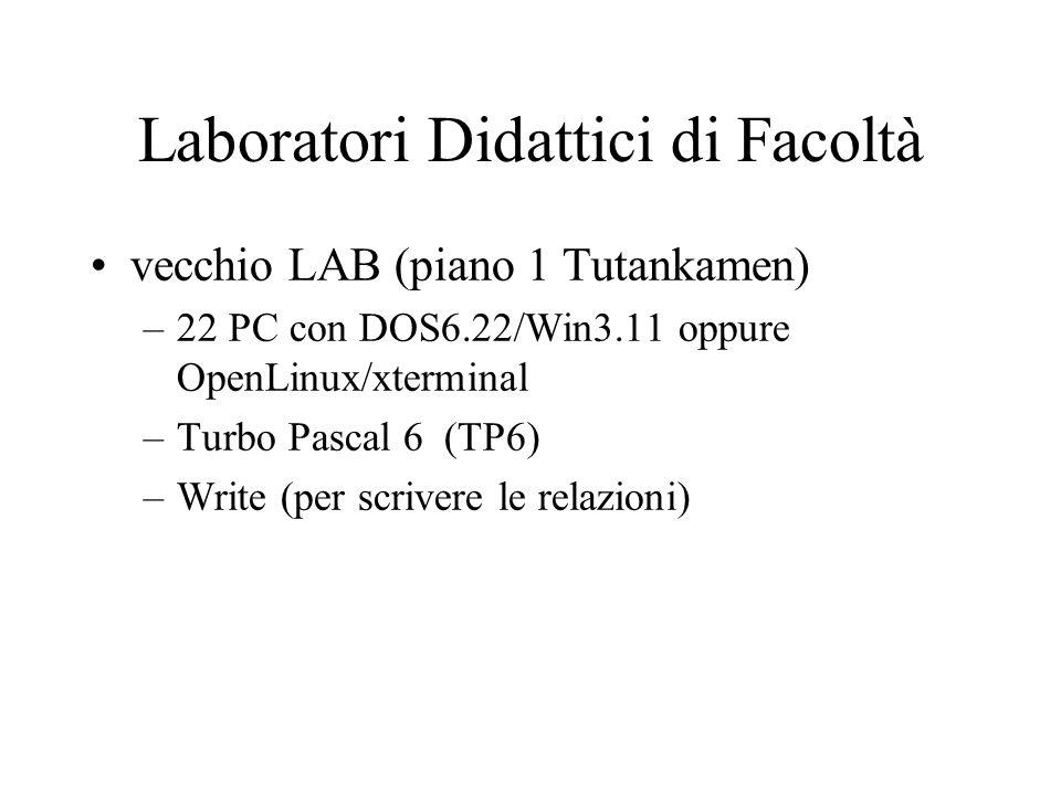 Laboratori Didattici di Facoltà vecchio LAB (piano 1 Tutankamen) –22 PC con DOS6.22/Win3.11 oppure OpenLinux/xterminal –Turbo Pascal 6 (TP6) –Write (per scrivere le relazioni)