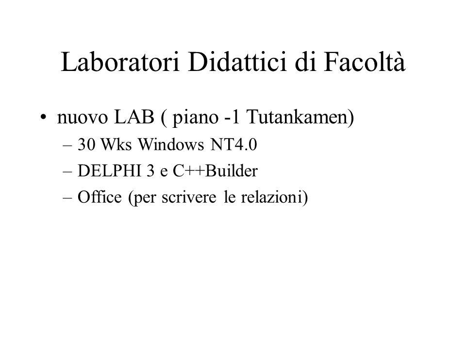 Laboratori Didattici di Facoltà nuovo LAB ( piano -1 Tutankamen) –30 Wks Windows NT4.0 –DELPHI 3 e C++Builder –Office (per scrivere le relazioni)