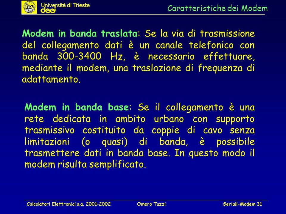 Calcolatori Elettronici a.a. 2001-2002Omero TuzziSeriali-Modem 31 Caratteristiche dei Modem Modem in banda traslata: Se la via di trasmissione del col