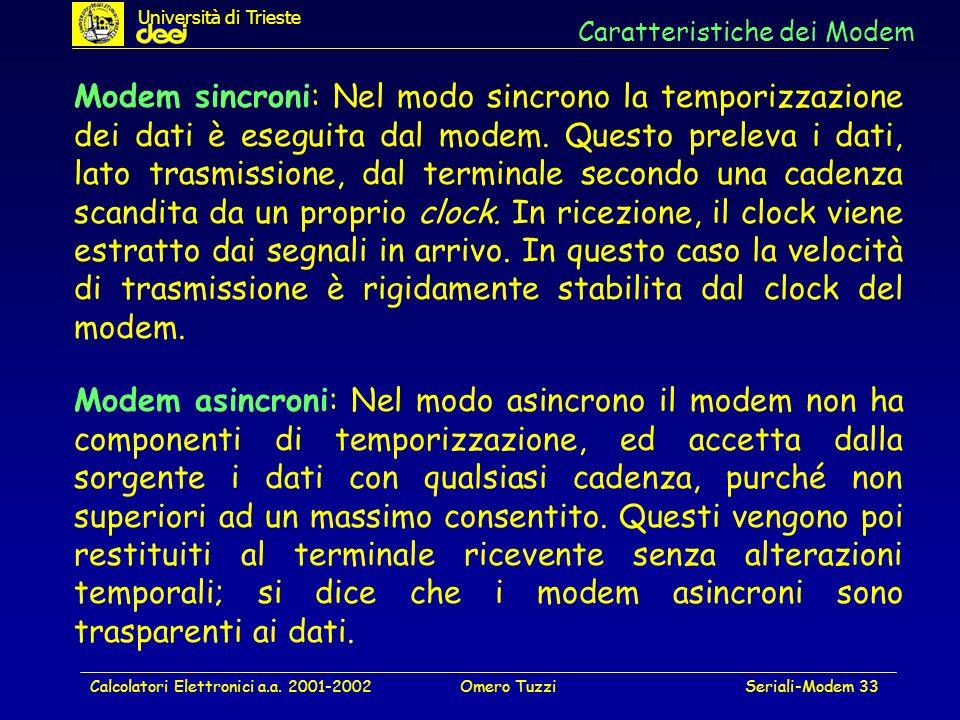 Calcolatori Elettronici a.a. 2001-2002Omero TuzziSeriali-Modem 33 Caratteristiche dei Modem Modem sincroni: Nel modo sincrono la temporizzazione dei d