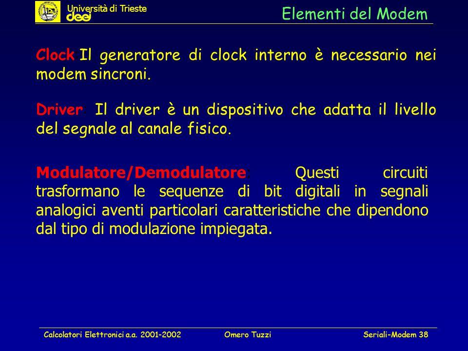 Calcolatori Elettronici a.a. 2001-2002Omero TuzziSeriali-Modem 38 Elementi del Modem Driver: Il driver è un dispositivo che adatta il livello del segn