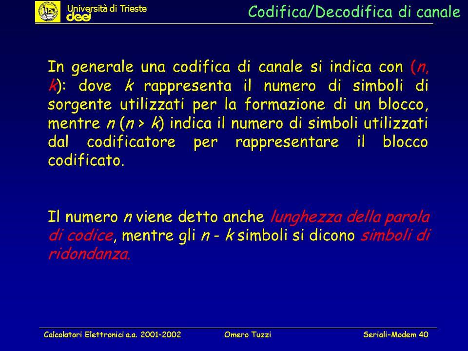 Calcolatori Elettronici a.a. 2001-2002Omero TuzziSeriali-Modem 40 Codifica/Decodifica di canale In generale una codifica di canale si indica con (n, k
