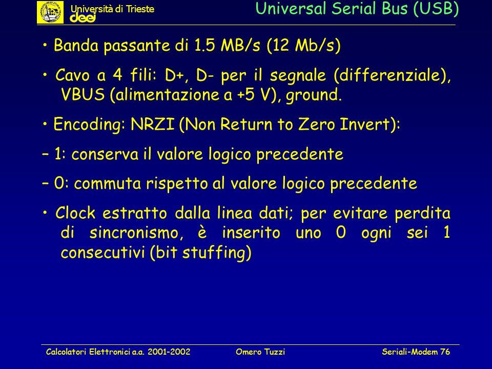 Calcolatori Elettronici a.a. 2001-2002Omero TuzziSeriali-Modem 76 Universal Serial Bus (USB) Banda passante di 1.5 MB/s (12 Mb/s) Cavo a 4 fili: D+, D