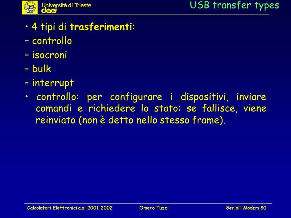 Calcolatori Elettronici a.a. 2001-2002Omero TuzziSeriali-Modem 80 USB transfer types 4 tipi di trasferimenti: – controllo – isocroni – bulk – interrup