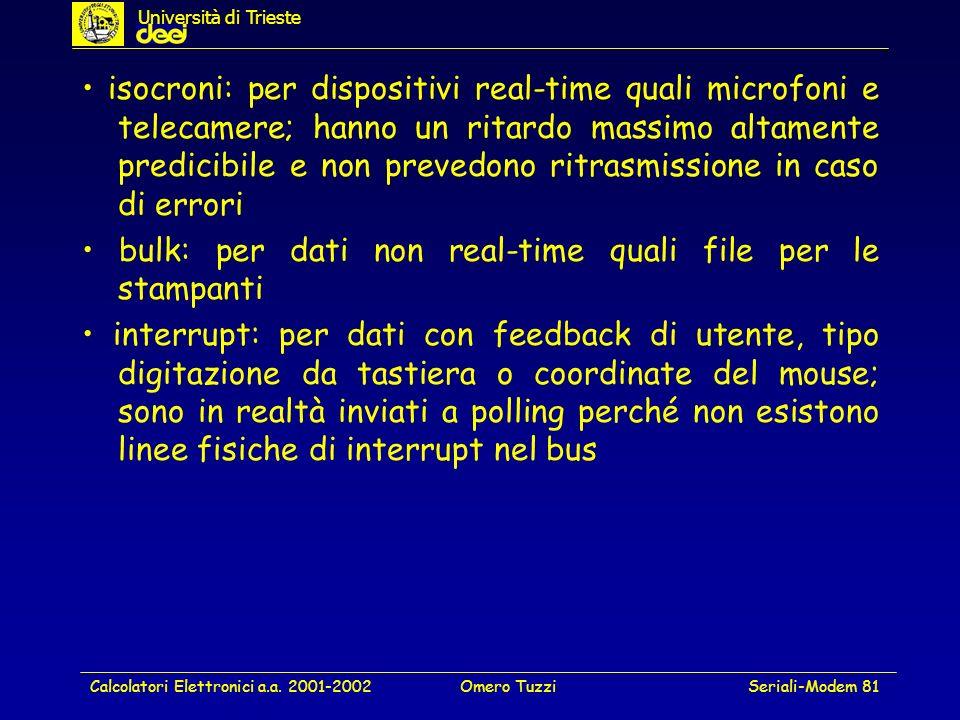 Calcolatori Elettronici a.a. 2001-2002Omero TuzziSeriali-Modem 81 isocroni: per dispositivi real-time quali microfoni e telecamere; hanno un ritardo m