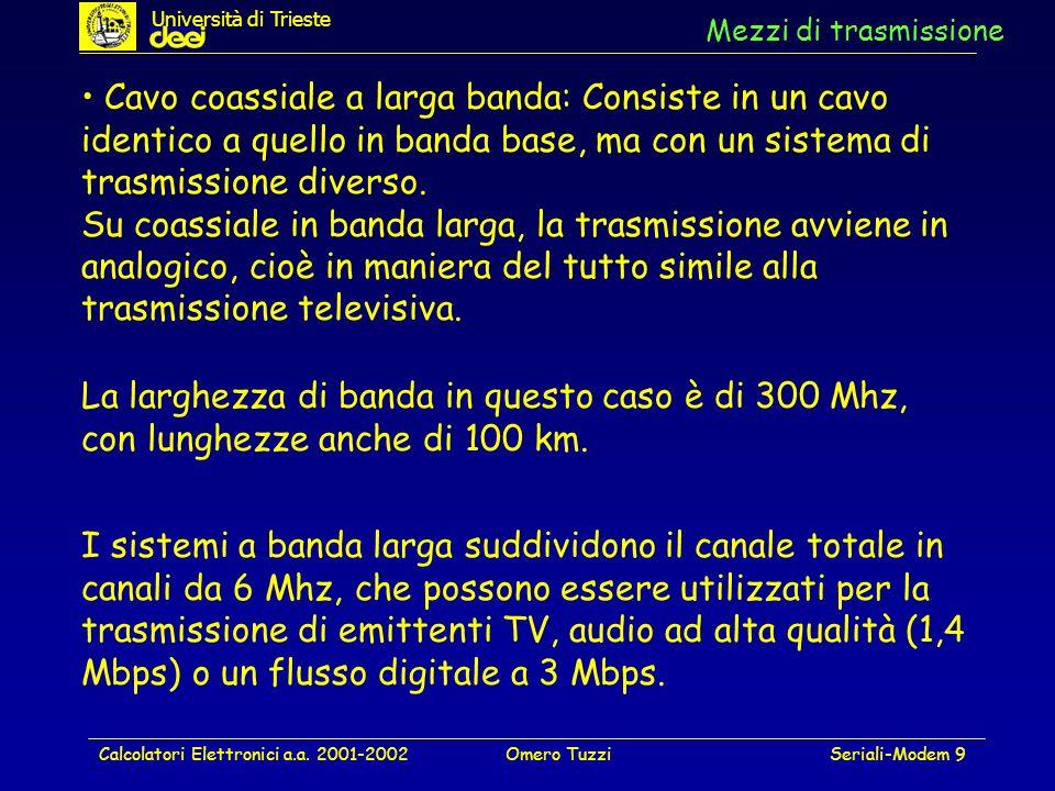 Calcolatori Elettronici a.a. 2001-2002Omero TuzziSeriali-Modem 9 Mezzi di trasmissione Cavo coassiale a larga banda: Consiste in un cavo identico a qu