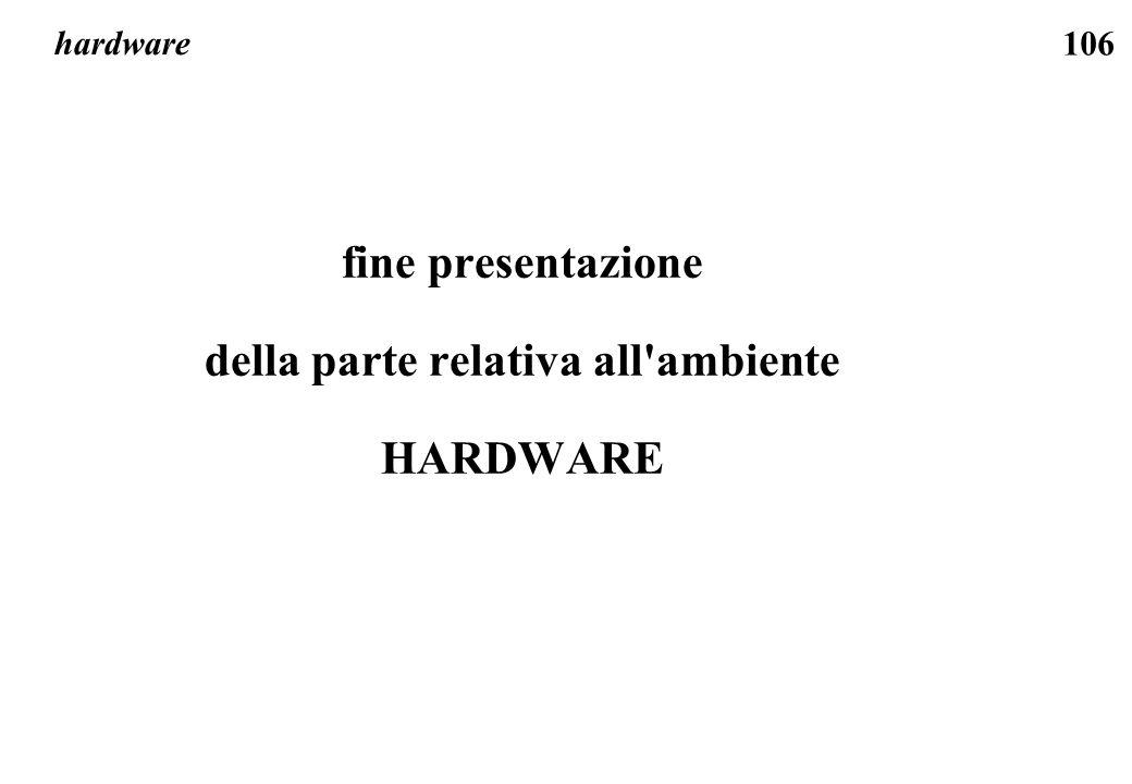 106 hardware fine presentazione della parte relativa all ambiente HARDWARE