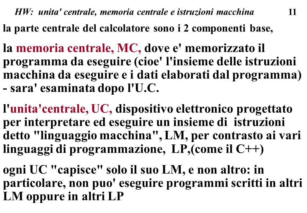 11 HW: unita centrale, memoria centrale e istruzioni macchina la parte centrale del calcolatore sono i 2 componenti base, la memoria centrale, MC, dove e memorizzato il programma da eseguire (cioe l insieme delle istruzioni macchina da eseguire e i dati elaborati dal programma) - sara esaminata dopo l U.C.