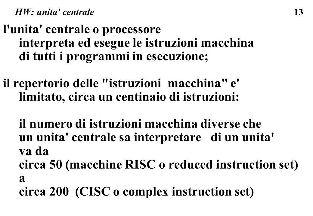 13 HW: unita centrale l unita centrale o processore interpreta ed esegue le istruzioni macchina di tutti i programmi in esecuzione; il repertorio delle istruzioni macchina e limitato, circa un centinaio di istruzioni: il numero di istruzioni macchina diverse che un unita centrale sa interpretare di un unita va da circa 50 (macchine RISC o reduced instruction set) a circa 200 (CISC o complex instruction set)