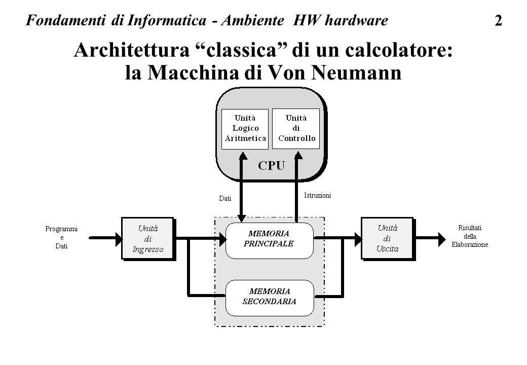 2 Fondamenti di Informatica - Ambiente HW hardware Architettura classica di un calcolatore: la Macchina di Von Neumann
