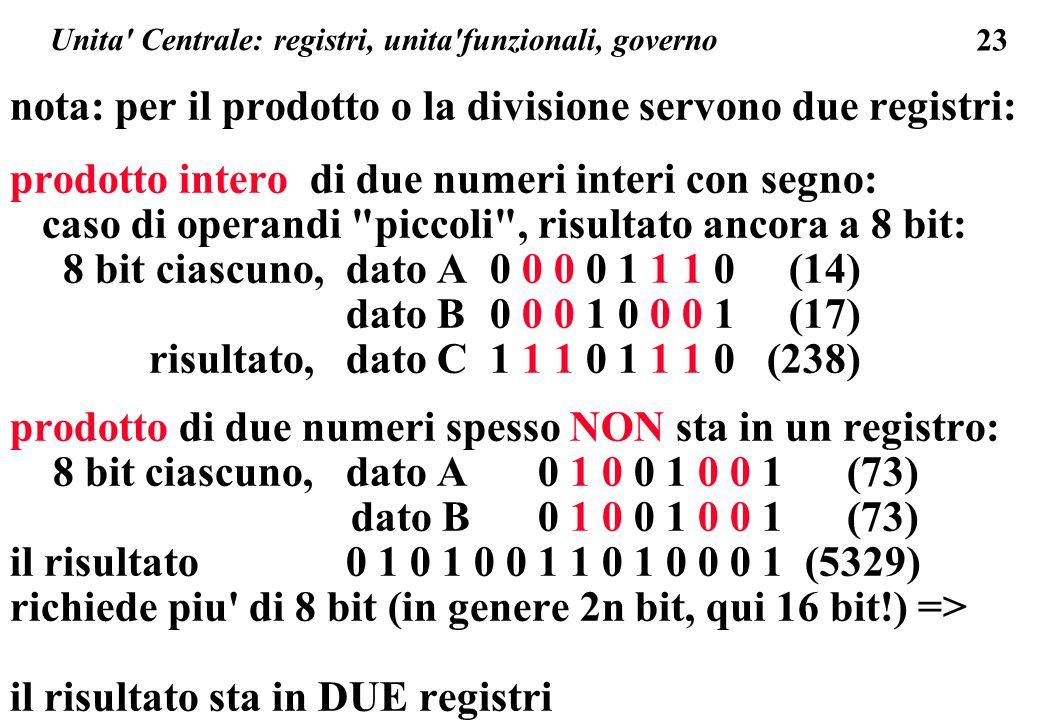 23 Unita Centrale: registri, unita funzionali, governo nota: per il prodotto o la divisione servono due registri: prodotto intero di due numeri interi con segno: caso di operandi piccoli , risultato ancora a 8 bit: 8 bit ciascuno, dato A0 0 0 0 1 1 1 0 (14) dato B0 0 0 1 0 0 0 1 (17) risultato, dato C1 1 1 0 1 1 1 0 (238) prodotto di due numeri spesso NON sta in un registro: 8 bit ciascuno, dato A0 1 0 0 1 0 0 1 (73) dato B0 1 0 0 1 0 0 1 (73) il risultato0 1 0 1 0 0 1 1 0 1 0 0 0 1 (5329) richiede piu di 8 bit (in genere 2n bit, qui 16 bit!) => il risultato sta in DUE registri