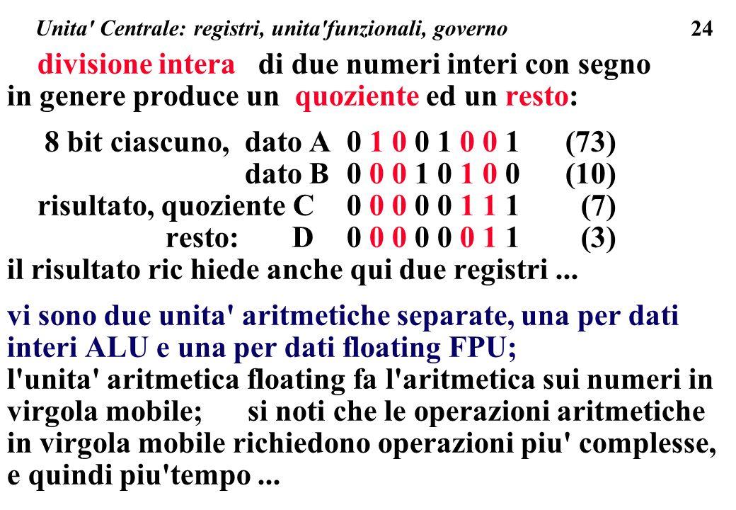 24 Unita Centrale: registri, unita funzionali, governo divisione intera di due numeri interi con segno in genere produce un quoziente ed un resto: 8 bit ciascuno, dato A0 1 0 0 1 0 0 1 (73) dato B0 0 0 1 0 1 0 0 (10) risultato, quoziente C 0 0 0 0 0 1 1 1 (7) resto: D0 0 0 0 0 0 1 1 (3) il risultato ric hiede anche qui due registri...