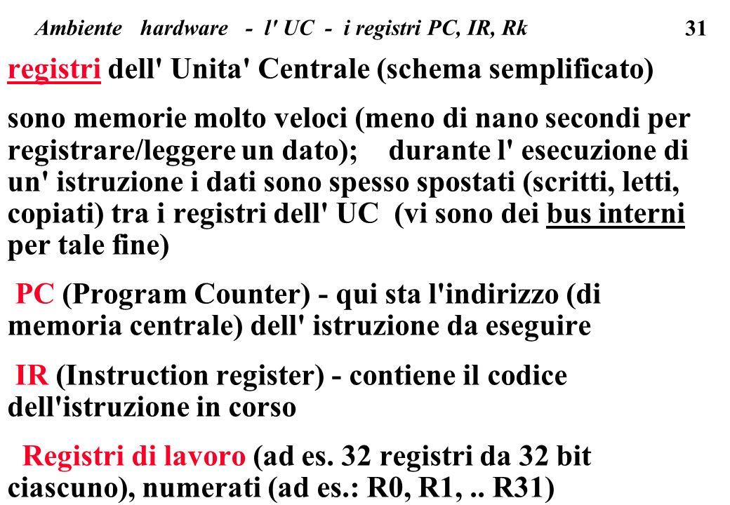 31 registri dell Unita Centrale (schema semplificato) sono memorie molto veloci (meno di nano secondi per registrare/leggere un dato); durante l esecuzione di un istruzione i dati sono spesso spostati (scritti, letti, copiati) tra i registri dell UC (vi sono dei bus interni per tale fine) PC (Program Counter) - qui sta l indirizzo (di memoria centrale) dell istruzione da eseguire IR (Instruction register) - contiene il codice dell istruzione in corso Registri di lavoro (ad es.