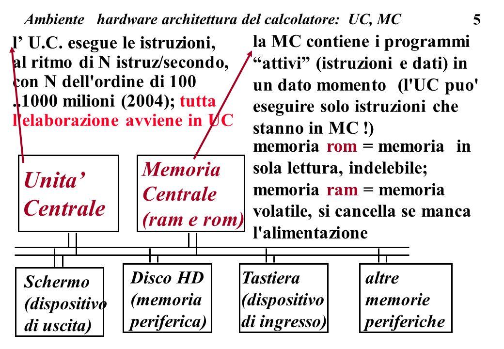 76 memoria centrale esistono infine memorie riscrivibili , con tempi di lettura e di scrittura diversi (scrittura piu lenta), dove l informazione rimane anche in assenza di corrente: es.: memorie EPROM (Erasable Programmable ROM) es.: le memorie periferiche flash usate per trasporto informazioni es.: un controller di impianti o di macchinari (una lavatrice) dove un piccolo calcolatore (un integrato che comprende sia l unita centrale sia le memorie ROM, RAM e EPROM) gestisce dei segnali (sia in ingresso sia in uscita) - in questi casi la memoria NON deve essere volatile.
