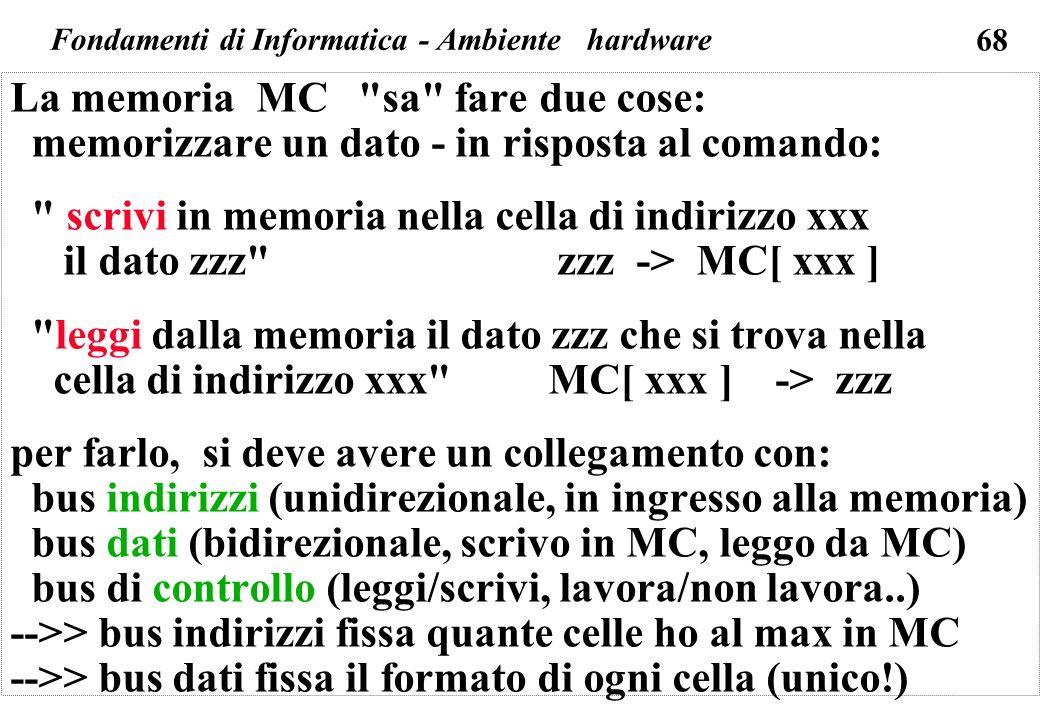 68 La memoria MC sa fare due cose: memorizzare un dato - in risposta al comando: scrivi in memoria nella cella di indirizzo xxx il dato zzz zzz -> MC[ xxx ] leggi dalla memoria il dato zzz che si trova nella cella di indirizzo xxx MC[ xxx ] -> zzz per farlo, si deve avere un collegamento con: bus indirizzi (unidirezionale, in ingresso alla memoria) bus dati (bidirezionale, scrivo in MC, leggo da MC) bus di controllo (leggi/scrivi, lavora/non lavora..) -->> bus indirizzi fissa quante celle ho al max in MC -->> bus dati fissa il formato di ogni cella (unico!) Fondamenti di Informatica - Ambiente hardware