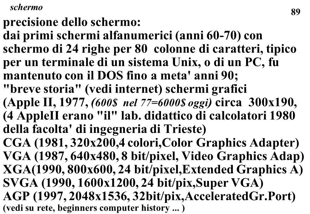 89 schermo precisione dello schermo: dai primi schermi alfanumerici (anni 60-70) con schermo di 24 righe per 80 colonne di caratteri, tipico per un terminale di un sistema Unix, o di un PC, fu mantenuto con il DOS fino a meta anni 90; breve storia (vedi internet) schermi grafici (Apple II, 1977, ( 600$ nel 77=6000$ oggi ) circa 300x190, (4 AppleII erano il lab.