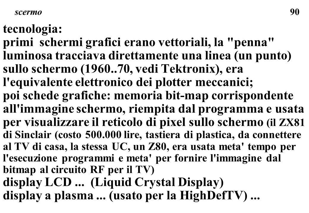 90 scermo tecnologia: primi schermi grafici erano vettoriali, la penna luminosa tracciava direttamente una linea (un punto) sullo schermo (1960..70, vedi Tektronix), era l equivalente elettronico dei plotter meccanici; poi schede grafiche: memoria bit-map corrispondente all immagine schermo, riempita dal programma e usata per visualizzare il reticolo di pixel sullo schermo (il ZX81 di Sinclair (costo 500.000 lire, tastiera di plastica, da connettere al TV di casa, la stessa UC, un Z80, era usata meta tempo per l esecuzione programmi e meta per fornire l immagine dal bitmap al circuito RF per il TV) display LCD...