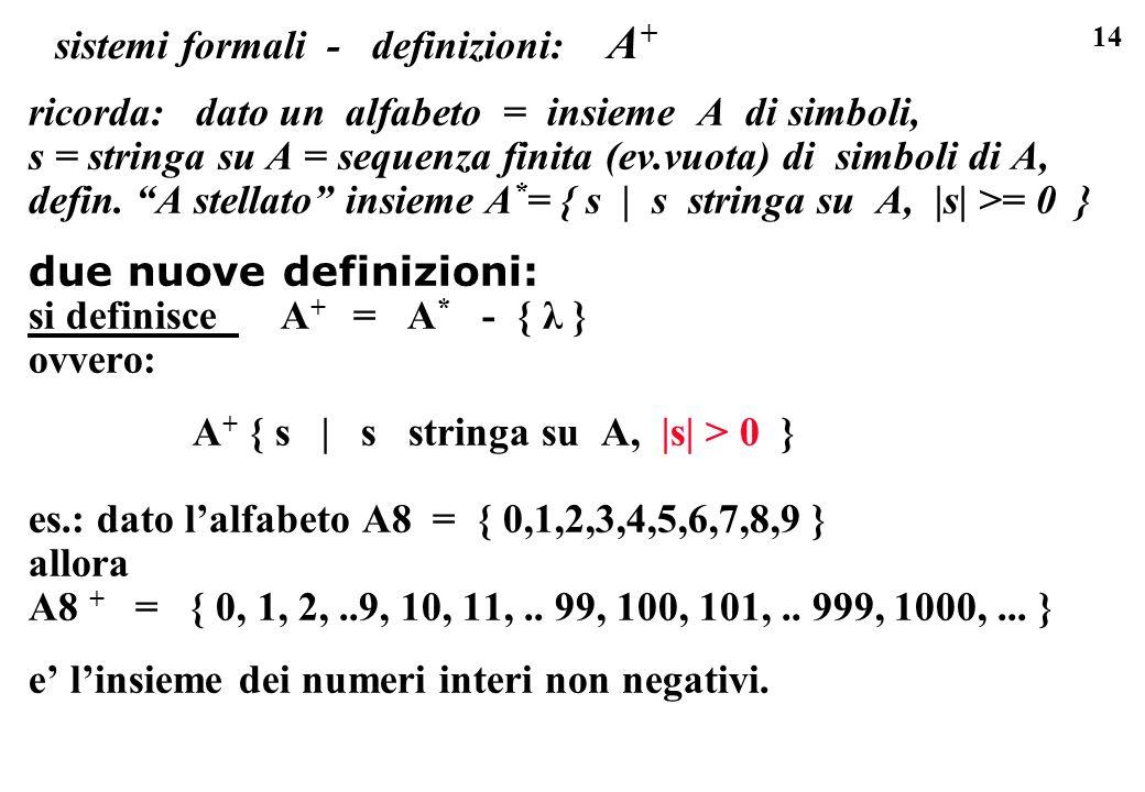 14 sistemi formali - definizioni: A + ricorda: dato un alfabeto = insieme A di simboli, s = stringa su A = sequenza finita (ev.vuota) di simboli di A,