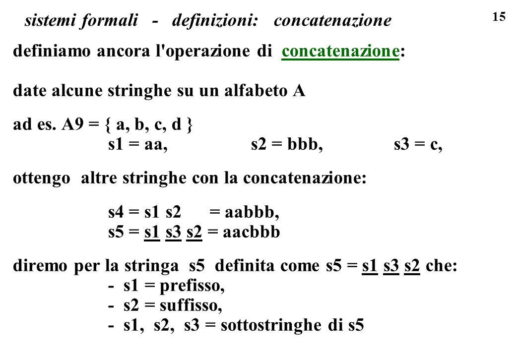 15 sistemi formali - definizioni: concatenazione definiamo ancora l'operazione di concatenazione: date alcune stringhe su un alfabeto A ad es. A9 = {
