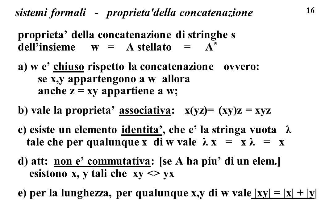 16 sistemi formali - proprieta'della concatenazione proprieta della concatenazione di stringhe s dellinsieme w = A stellato = A * a) w e chiuso rispet
