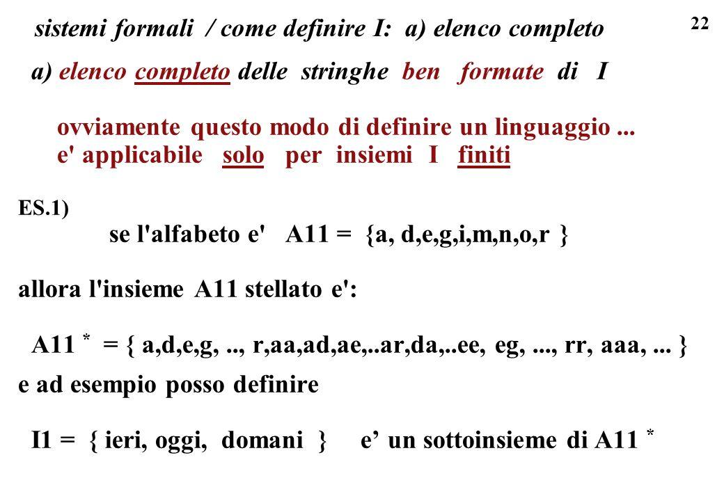 22 sistemi formali / come definire I: a) elenco completo a) elenco completo delle stringhe ben formate di I ovviamente questo modo di definire un ling