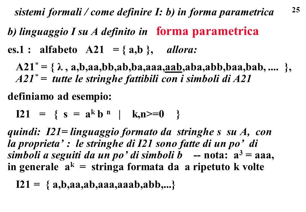 25 sistemi formali / come definire I: b) in forma parametrica b) linguaggio I su A definito in forma parametrica es.1 : alfabeto A21 = { a,b }, allora