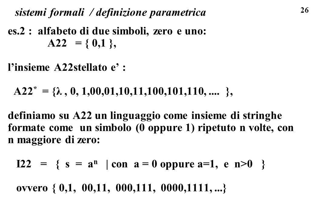 26 sistemi formali / definizione parametrica es.2 : alfabeto di due simboli, zero e uno: A22 = { 0,1 }, linsieme A22stellato e : A22 * = {λ, 0, 1,00,0