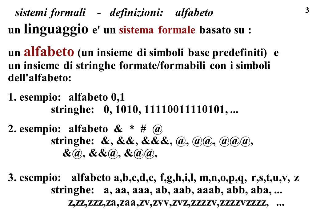 44 sistemi formali, esempio I43 stringhe ab, esercizio esercizio per il linguaggio I43 o insieme delle stringhe ab: A = { a, b }, B = { ab } ( di seguito S sta per stringa qualunque) P = { p1,p2,p3 } con p1: ab -> abba p2: abS -> abSS p3: Sba -> SSba abbaabbaba bba ab abbb a ababababba abababba baab esercizio: le stringhe qui a destra appartengono al linguaggio I definito dalla terna A,B,P .