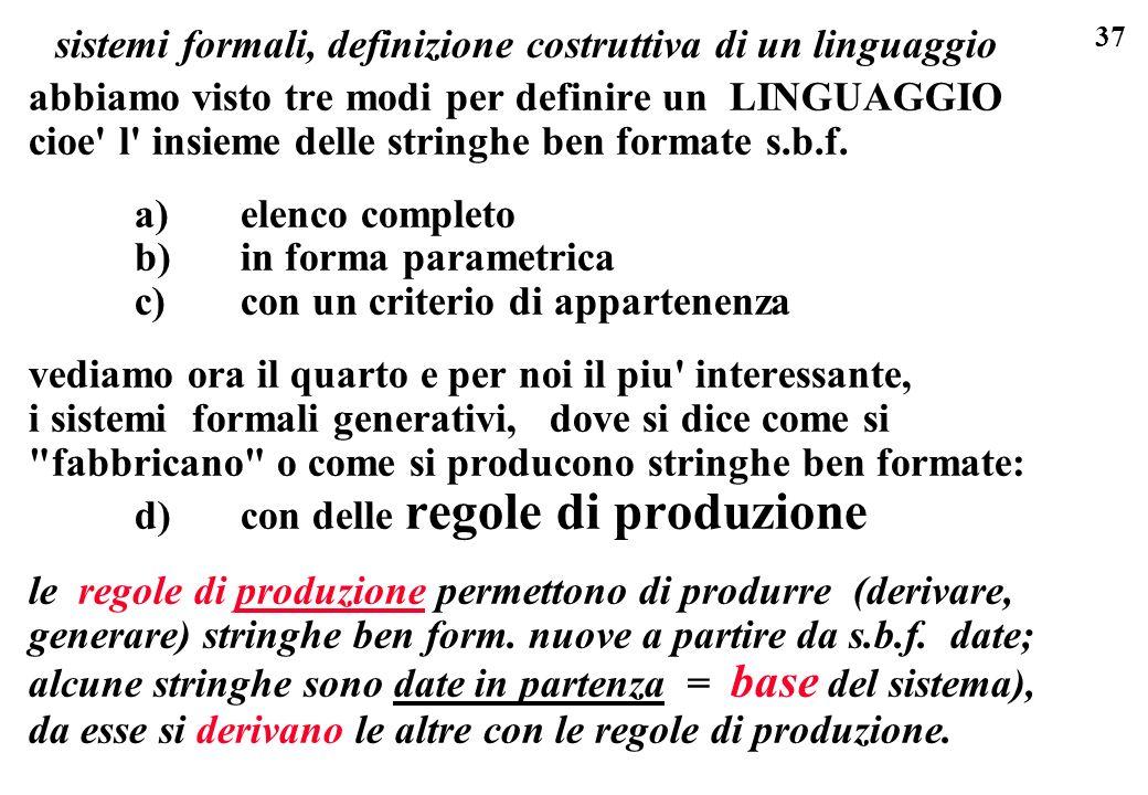 37 sistemi formali, definizione costruttiva di un linguaggio abbiamo visto tre modi per definire un LINGUAGGIO cioe' l' insieme delle stringhe ben for