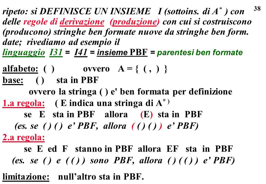 38 ripeto: si DEFINISCE UN INSIEME I (sottoins. di A * ) con delle regole di derivazione (produzione) con cui si costruiscono (producono) stringhe ben