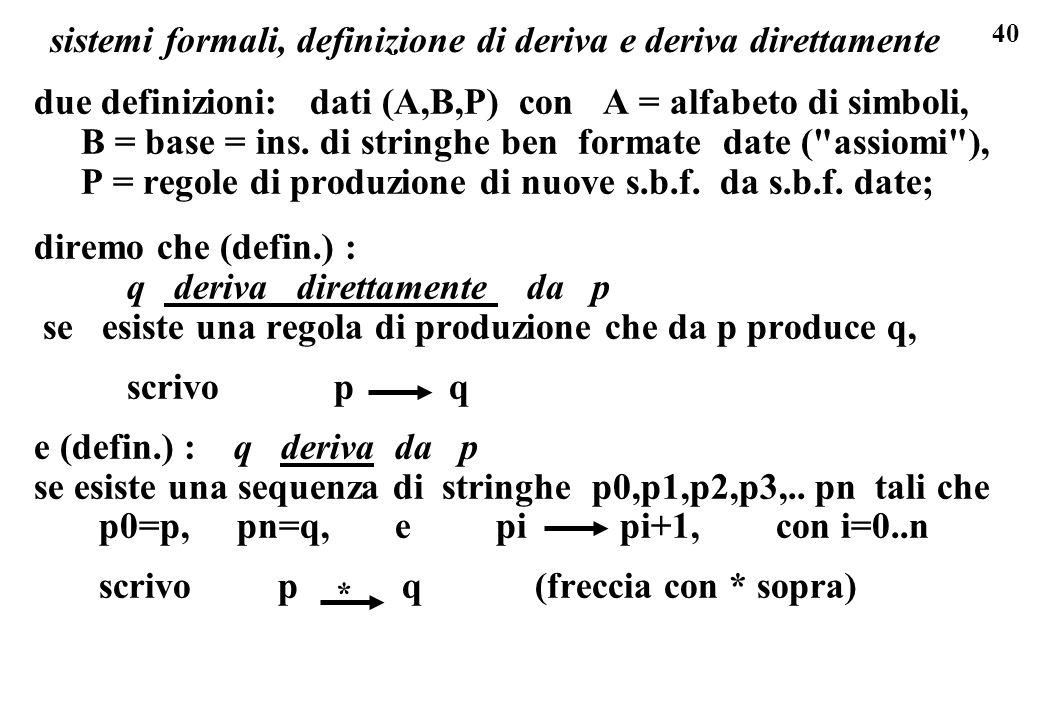 40 due definizioni: dati (A,B,P) con A = alfabeto di simboli, B = base = ins. di stringhe ben formate date (