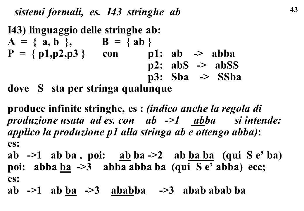 43 sistemi formali, es. I43 stringhe ab I43) linguaggio delle stringhe ab: A = { a, b }, B = { ab } P = { p1,p2,p3 } con p1: ab -> abba p2: abS -> abS