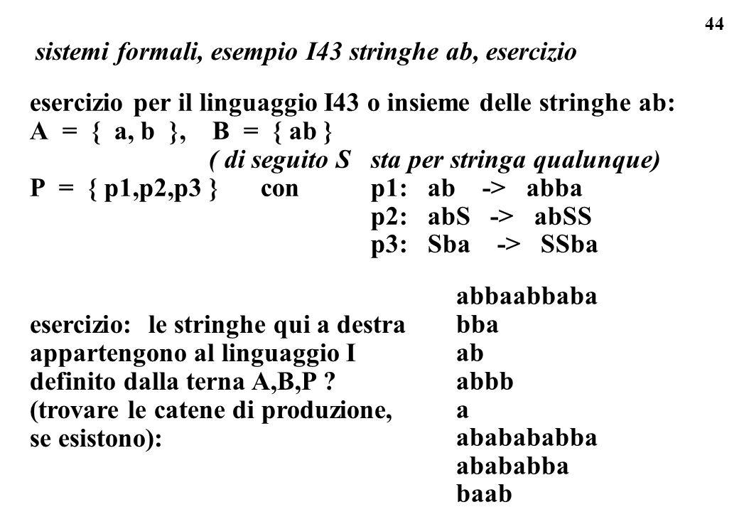 44 sistemi formali, esempio I43 stringhe ab, esercizio esercizio per il linguaggio I43 o insieme delle stringhe ab: A = { a, b }, B = { ab } ( di segu