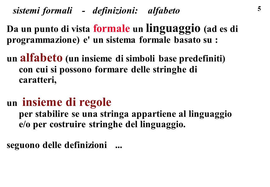 6 sistemi formali - definizioni : alfabeto, stringa Definizioni ALFABETO - INSIEME FINITO DI SIMBOLI DISTINTI tre es.