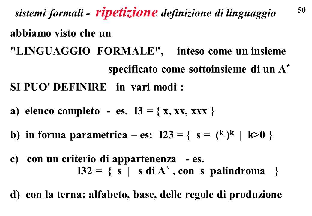 50 sistemi formali - ripetizione definizione di linguaggio abbiamo visto che un